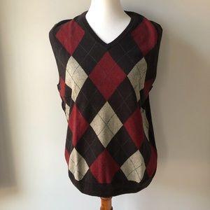 J. Crew Brown Red Argyle Sweater Vest Size M